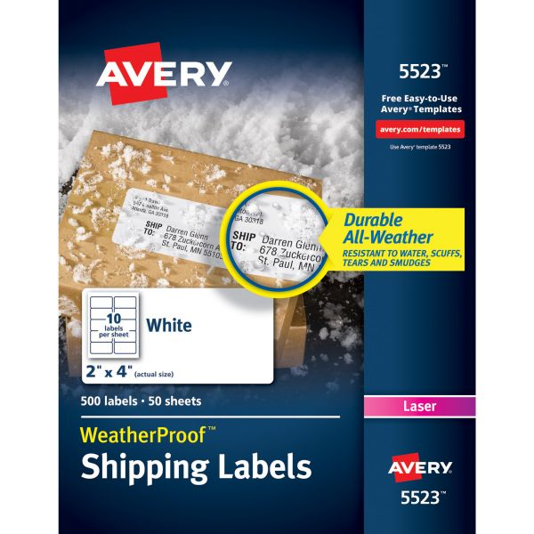 Avery WeatherProof Shipping Labels w/TrueBlock, Laser, White, 2 x 4, 500/Pack