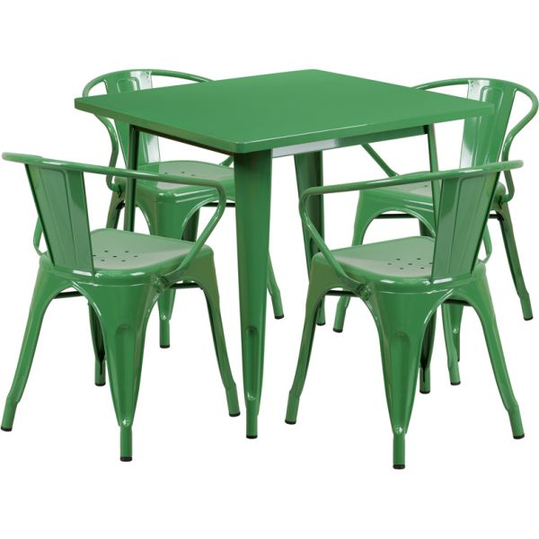 Flash Furniture 31.5'' Square Green Metal Indoor-Outdoor Table Set with 4 Arm Chairs