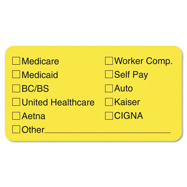 Tabbies Labels for Insurance List, 1-3/4 x 3-1/4, Yellow, 250/Roll