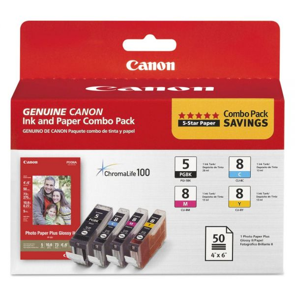 Canon PGI-5 Black/CLI-8 Color Ink Cartridges & Photo Paper Combo Pack
