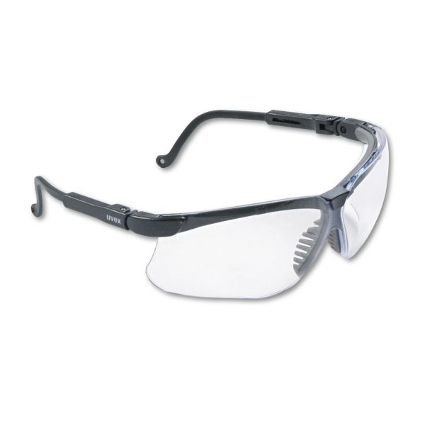 Honeywell Uvex Genesis Wraparound Safety Glasses, Black Plastic Frame, Clear Lens
