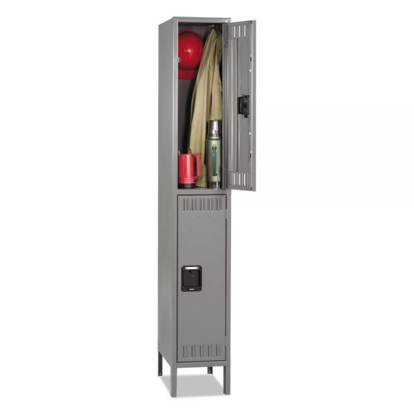 Tennsco Double Tier Locker with Legs, Single Stack, 12w x 18d x 78h, Medium Gray