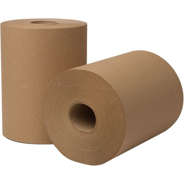 Wausau Paper EcoSoft Hardwound Roll Towels, 350 ft x 8 in, Natural, 12 Rolls/Carton