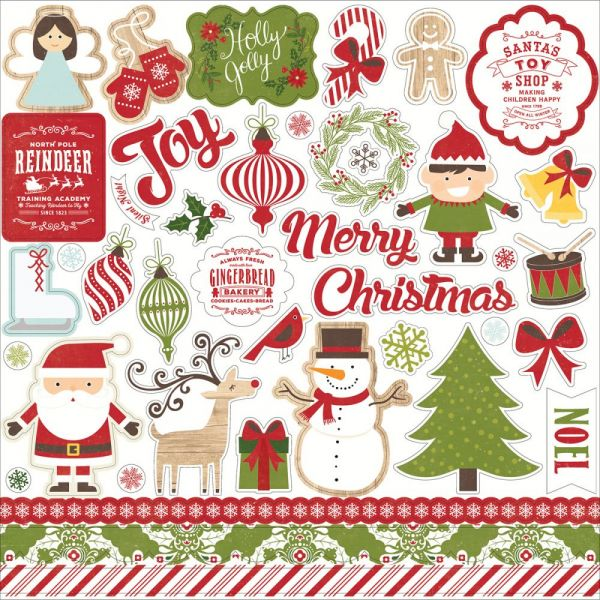 "I Love Christmas Cardstock Stickers 12""X12"""