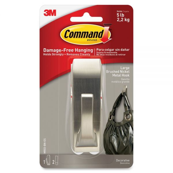 Command Large Modern Reflections Hook, Brushed Nickel