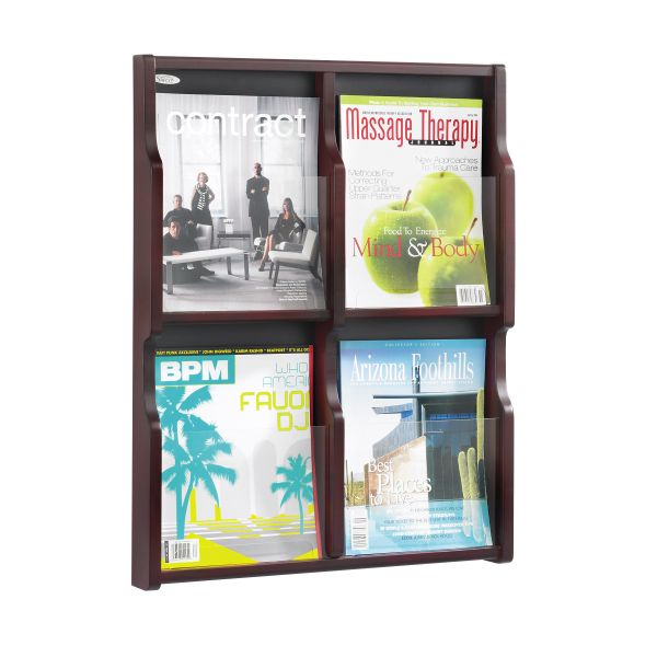 Safco Expose Adj Magazine/Pamphlet Four Pocket Display, 20w x 26-1/4h, Mahogany