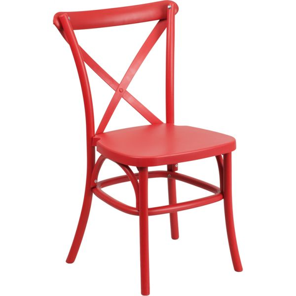 Flash Furniture HERCULES Series Red Resin Indoor-Outdoor Cross Back Chair with Steel Inner Leg