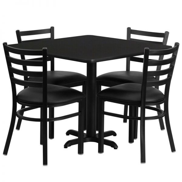 Flash Furniture 36'' Square Black Laminate Table Set with 4 Ladder Back Metal Chairs - Black Vinyl Seat [HDBF1013-GG]