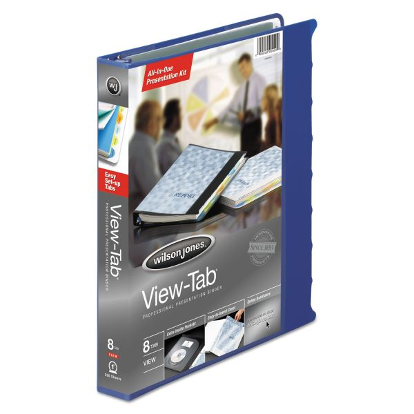 "Wilson Jones View-Tab Presentation 3-Ring View Binder w/Tabs, 1"" Capacity, Round Ring, Blue"