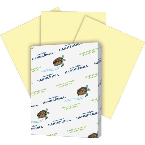 Hammermill Recycled Colored Paper, 20lb, 8-1/2 x 11, Canary, 500 Sheets/Ream