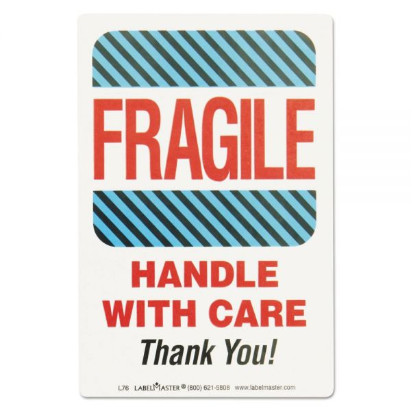 LabelMaster Shipping Self-Adhesive Label, 5 7/8 x 4 1/2, FRAGILE/HANDLE WITH CARE, 500/Roll