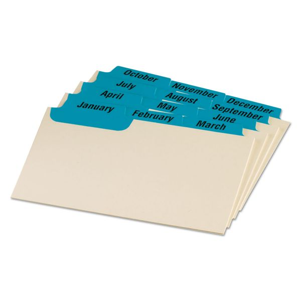 Oxford Laminated Index Card Guides, Monthly, 1/3 Tab, Manila, 3 x 5, 12/Set
