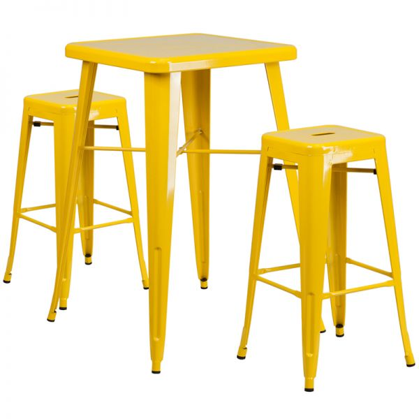 Flash Furniture 23.75'' Square Yellow Metal Indoor-Outdoor Bar Table Set with 2 Square Seat Backless Barstools