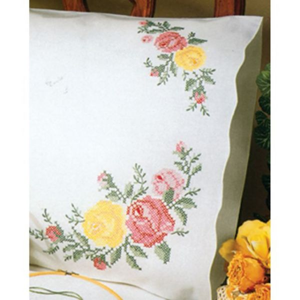 Tobin Stamped Cross Stitch Pillowcases