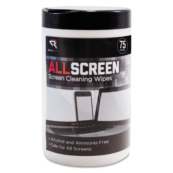 "Read Right AllScreen Screen Cleaning Wipes, 6"" x 6"", White, 75/Tub"