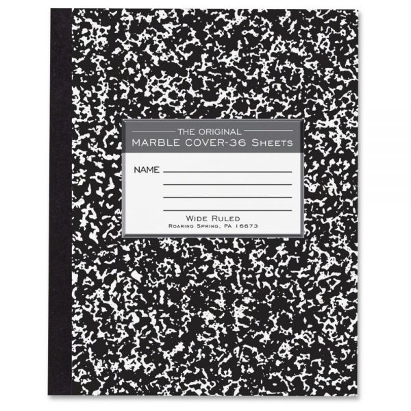 Roaring Spring Marble Cover Composition Book, Wide Rule, 8 1/2 x 7, 36 Pages