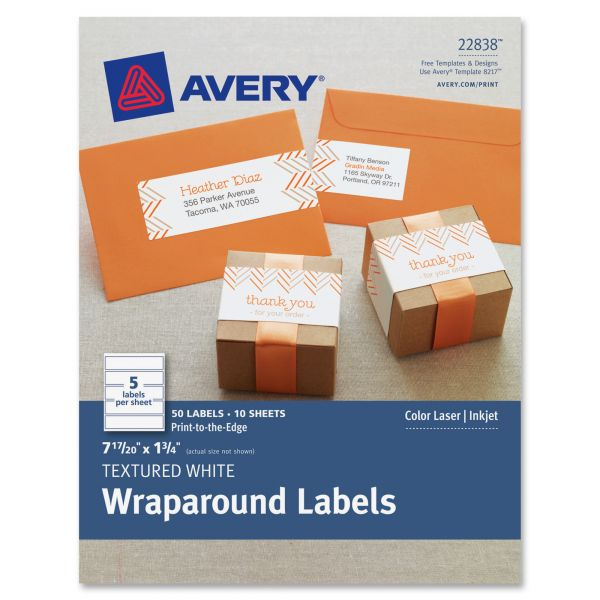 Avery Rectangle Wraparound Labels, 7 17/20 x 1 3/4, Textured White, 50/Pack