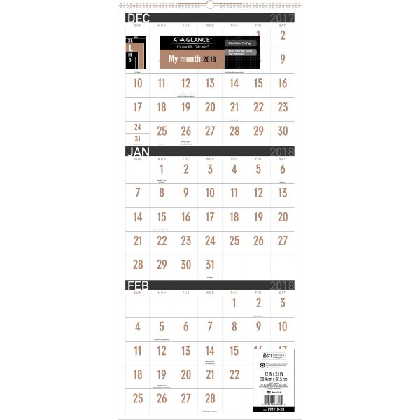 At-A-Glance 3-Month Reference Quarterly Wall Calendar