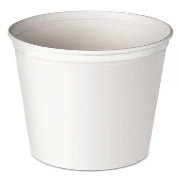 Dart Double Wrapped Paper Bucket, Unwaxed, White, 83oz, 100/Carton