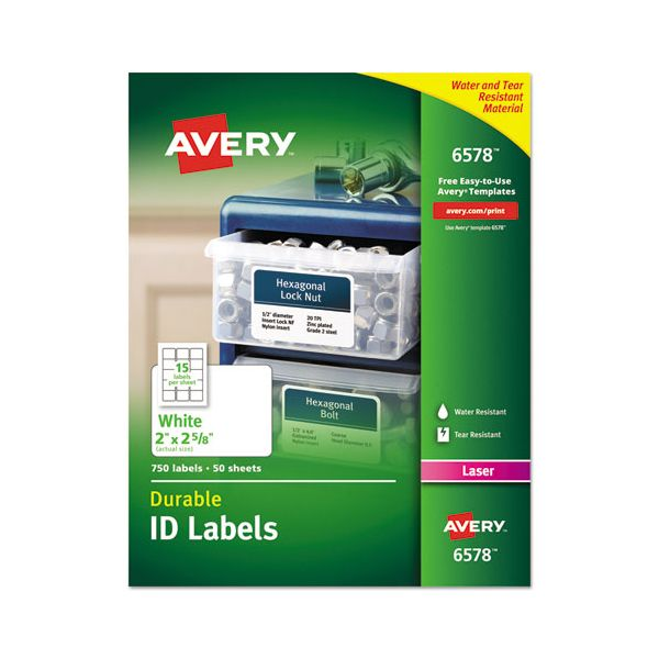 Avery Permanent ID Labels w/TrueBlock Technology, Laser, 2 x 2 5/8, White, 750/Pack
