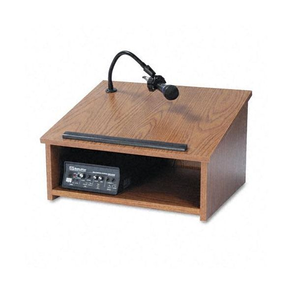 AmpliVox Wireless/Cordless Sound System Lectern, Tabletop, 24 x 20 x 14, Medium Oak