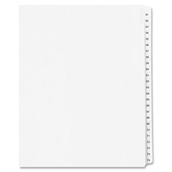 Avery-Style Legal Exhibit Side Tab Divider, Title: 51-75, 14 x 8 1/2, White