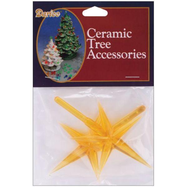"Ceramic Christmas Tree Stars 3.875""X2.625"" 2/Pkg"