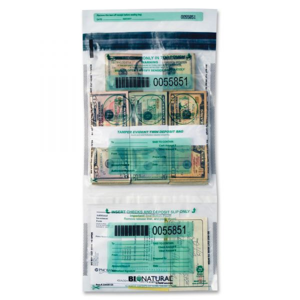 MMF Industries Twin Deposit Cash Bags, 9-1/2 x 15, Clear, 100/Pack