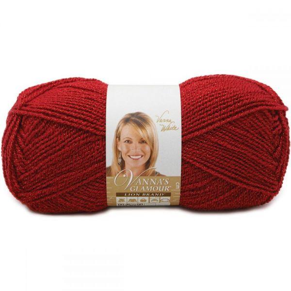 Lion Brand Vanna's Glamour Yarn - Red Stone