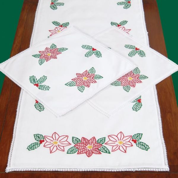 Jack Dempsey Stamped Dresser Scarf & Doilies With Lace Edge