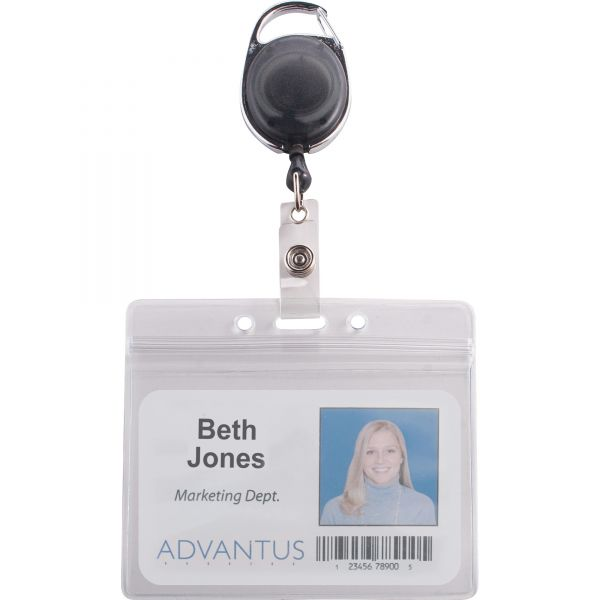Advantus Resealable ID Badge Holder, Cord Reel, Horizontal, 3 3/4 x 2 5/8, Clear, 10/Pack