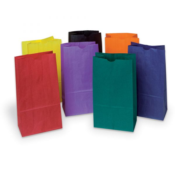 Pacon Rainbow Bags, 6# Uncoated Kraft Paper, 6 x 3 5/8 x 11, Assorted Bright, 28/Pack