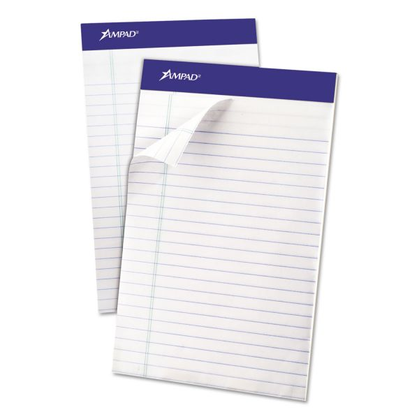 Ampad Recycled Writing Pads, Jr. Legal/Margin Rule, 5 x 8, White, 50 Sheets, Dozen