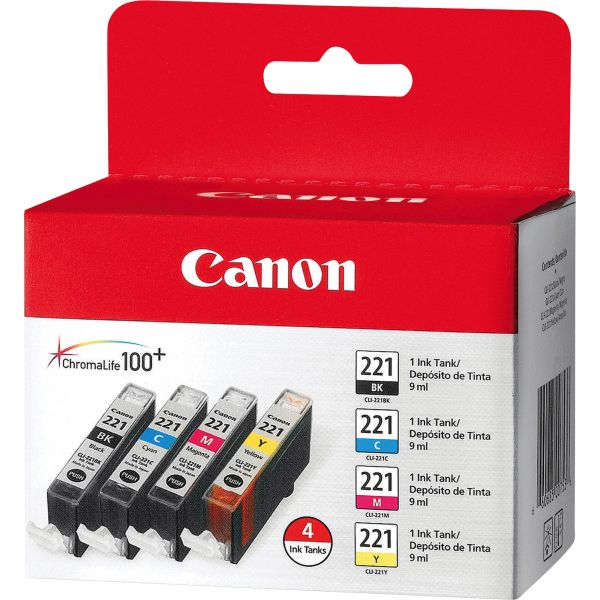Canon CLI-221 Black/Color Combo Pack Ink Cartridges