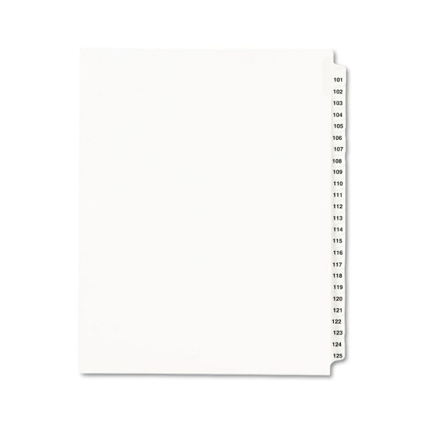 Avery Avery-Style Legal Exhibit Side Tab Divider, Title: 101-125, Letter, White