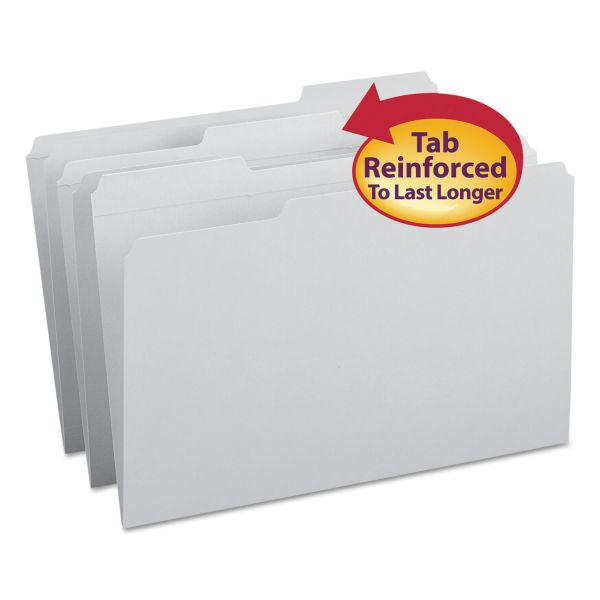 Smead Gray Colored File Folders with Reinforced Tab