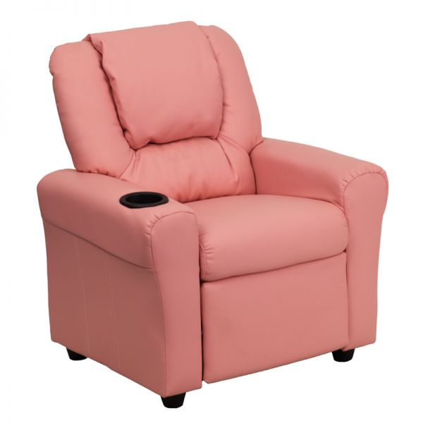 Flash Furniture Contemporary Pink Vinyl Kids Recliner with Cup Holder and Headrest