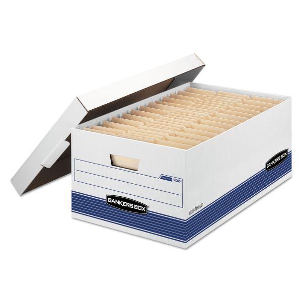 Bankers Box STOR/FILE Storage Box, Legal, Locking Lid, White/Blue, 4/Carton