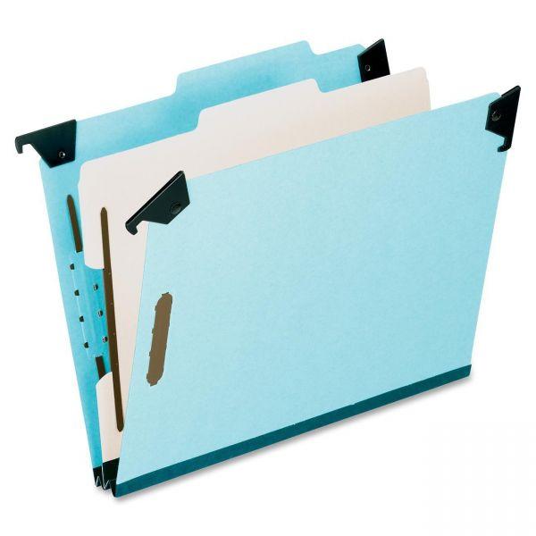 Pendaflex Pressboard Hanging Classi-Folder, 1 Divider/4-Sections, Letter, 2/5 Tab, Blue