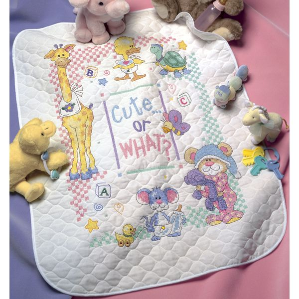 Baby Hugs Cute...Or What? Quilt Stamped Cross Stitch Kit