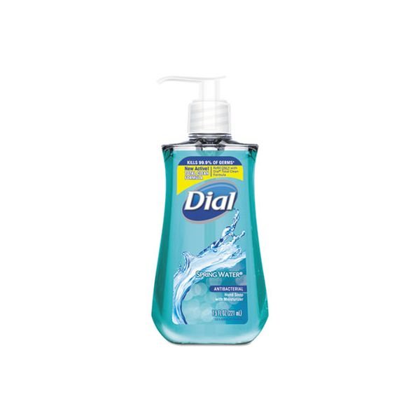Dial Antimicrobial Liquid Hand Soap, Spring Water, 7.5oz Bottle,12/CT