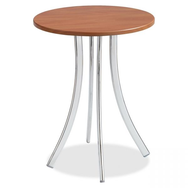 "Safco Decori Wood Side Table, Round, 19 3/4"" Dia., 25 3/4"" High, Cherry/Silver"