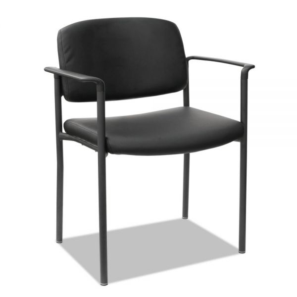 Alera Sorrento Series Stacking Guest Chair, Faux Leather, Black, 2/Carton