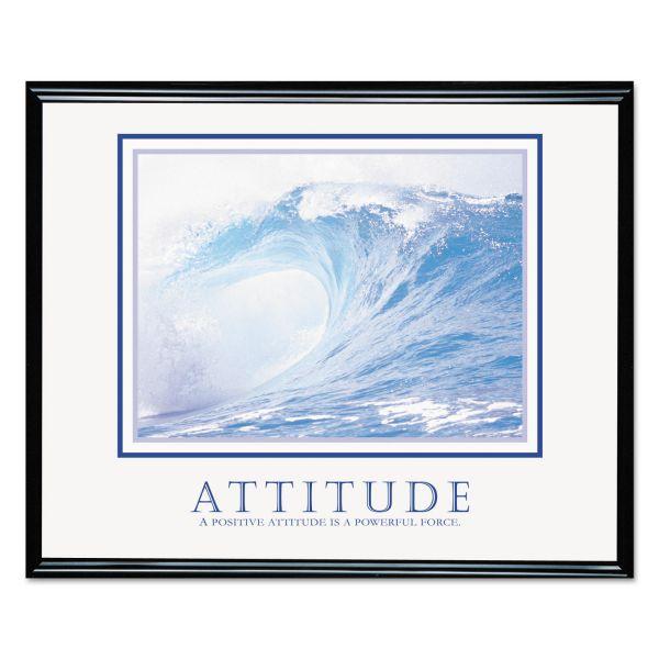 Advantus Attitude/Waves Framed Motivational Print, 30w x 24h