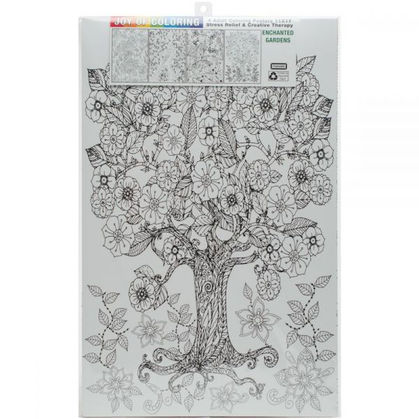 "Joy Of Coloring Adult Coloring Posters 11""x17"" 4/Pkg"