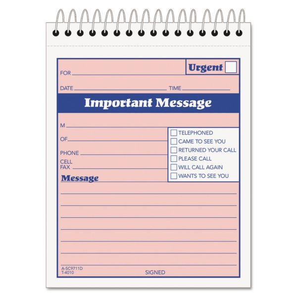 TOPS Telephone Message Book with Fax/Mobile Section, 4-1/4 x 5 1/2, Two-Part, 50/Book