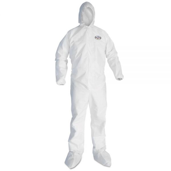 KleenGuard* A30 Elastic-Back and Cuff Hooded Coveralls, 2XL, White, 25/Carton