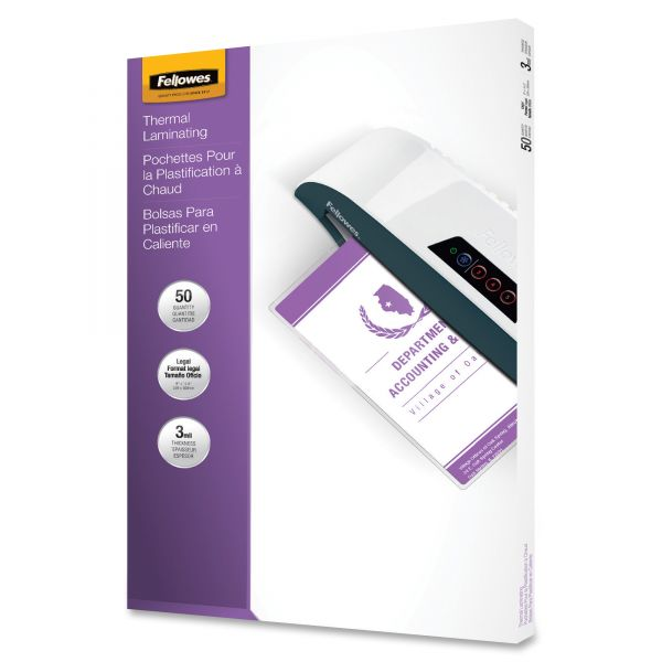 Fellowes Laminating Pouches, 3mil, 9 x 14 1/2, 50/Pack