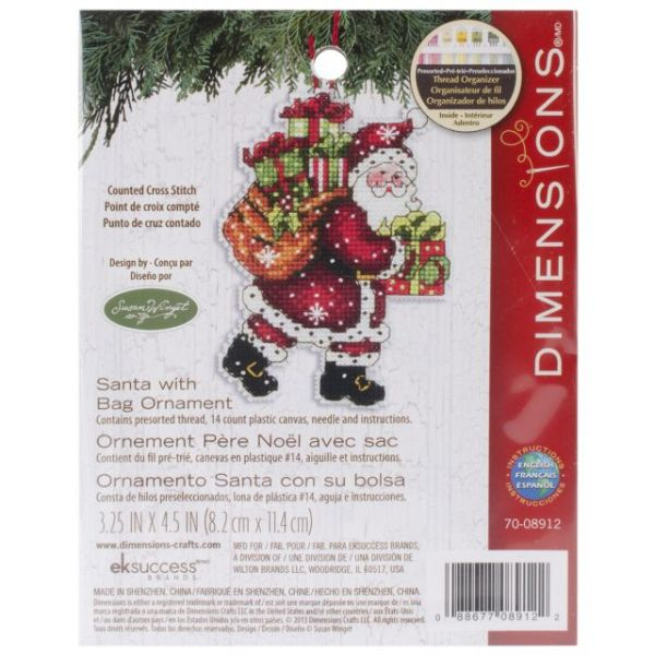 Dimensions Susan Winget Santa W/Bag Ornament Counted Cross Stitch Kit