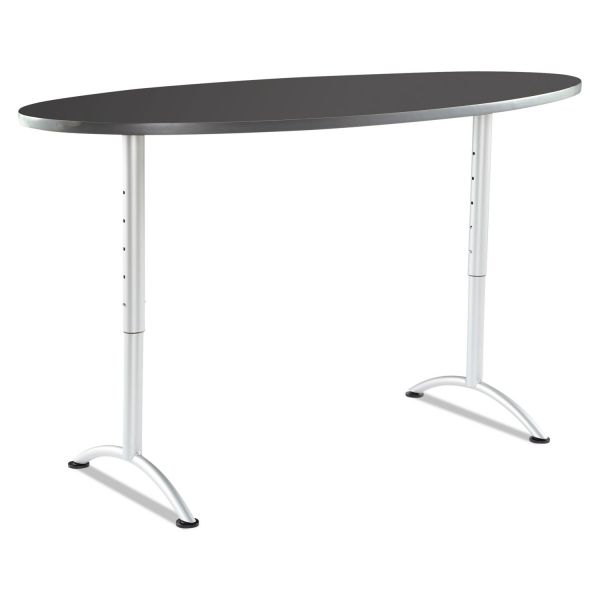 Iceberg ARC Sit-to-Stand Tables, Oval Top, 36w x 72d x 30-42h, Graphite/Silver